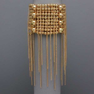Beaded Rain Gold Tone Stretch Bracelet
