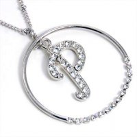Silver Alphabet Bling Necklace Letter P
