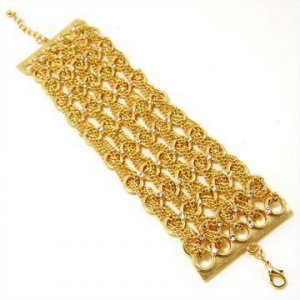 Gold Five Chain Link Bracelet