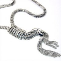 Rhodium Mesh Tassels Necklace