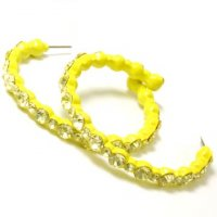 Yellow Mosiac Rhinestone Hoop Earrings