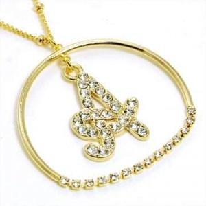 Gold Alphabet Bling Necklace Letter A