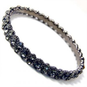 Daisy Bling Hematite Plated Bangle