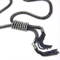 Hematite Mesh Tassels Necklace