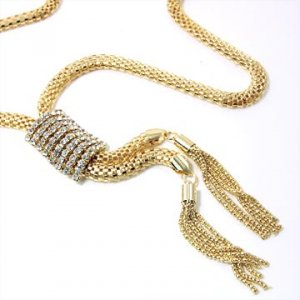 Gold Mesh Tassels Necklace