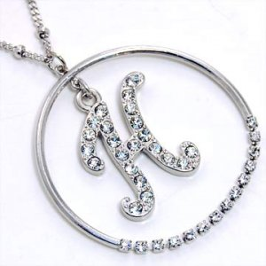 Silver Alphabet Bling Necklace Letter H