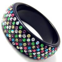 7 Liner Black Bangle (Multi Color AB Crystals)
