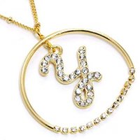 Gold Alphabet Bling Necklace Letter Y