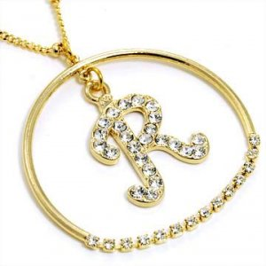 Gold Alphabet Bling Necklace Letter R