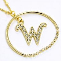 Gold Alphabet Bling Necklace Letter W