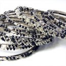 India Quest 14 Black and Silver Tone Bangles