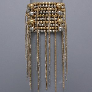 Beaded Rain Gold Tone and Silver Burnished Stretch Bracelet