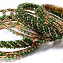 India Quest 14 Olive and Gold Tone Bangles