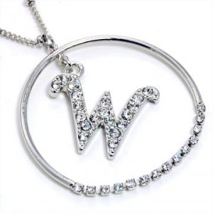 Silver Alphabet Bling Necklace Letter W