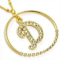 Gold Alphabet Bling Necklace Letter D