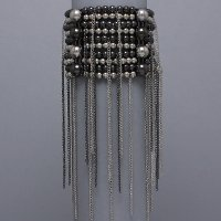 Beaded Rain Silver Burnished Stretch Bracelet