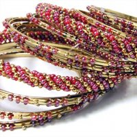 India Quest 14 Pink and Gold Tone Bangles