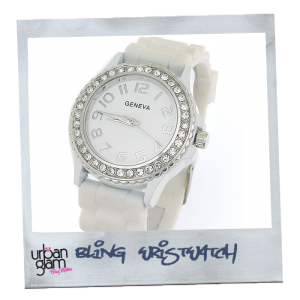 Large Geneva Silicone (Rubber) White Watch With Crystals