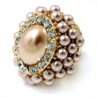 Brown and Gold Majestic Pearl Oval Ring