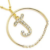 Gold Alphabet Bling Necklace Letter J