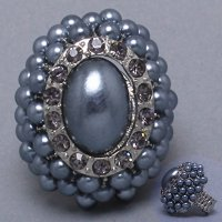 Grey, Black and Rhodium Majestic Pearl Oval Ring