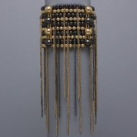 Beaded Rain Gold Tone and Hermatite Stretch Bracelet