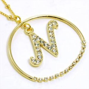 Gold Alphabet Bling Necklace Letter N