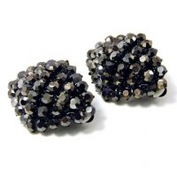 Hematite Vineyard Crystals Clip On Earrings