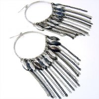 Rhodium and Hematite Chain Leaves Earrings