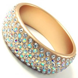 7 Liner Gold Bangle (Clear AB Crystals)