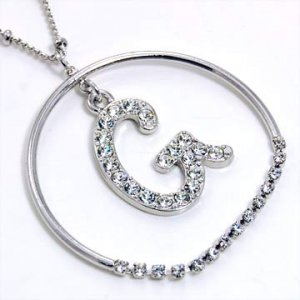 Silver Alphabet Bling Necklace Letter G