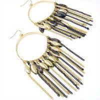Gold and Hematite Chain Leaves Earrings