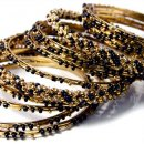 India Quest 14 Black and Gold Tone Bangles