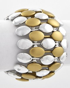 Bronze and Silver Tiled Metal Stretch Bracelet