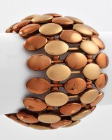 Copper and Bronze Tiled Metal Stretch Bracelet