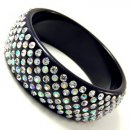 7 Liner Black Bangle (Clear AB Crystals)