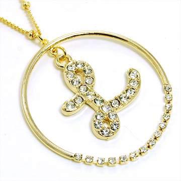 gold alphabet bling necklace letter l